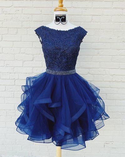 Elegant Tulle Navy Short Ruffles Homecoming dress