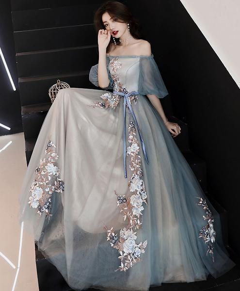 Gray blue tulle lace long prom dress, gray blue evening dress
