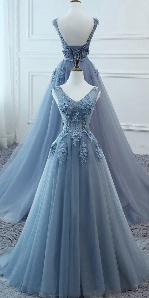 Tulle V-neck Neckline Floor-length A-line Prom Dresses With Lace Appliuqes
