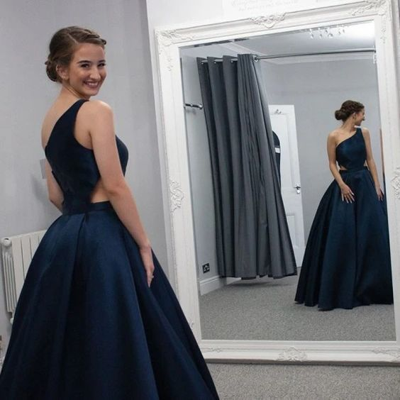 A Line Sleeves Cut Out Floor Length Dark Blue Prom Dress