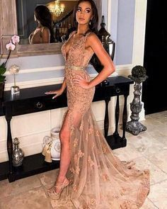 Simple Prom Dress, Mermaid Lace V Neck Split Prom Dresses
