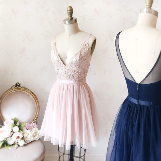 V Neck Tulle Prom Dress, Elegant Lace Short Homecoming Dress