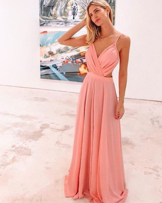 A-Line Long Prom Dress , Open Back Prom Dress