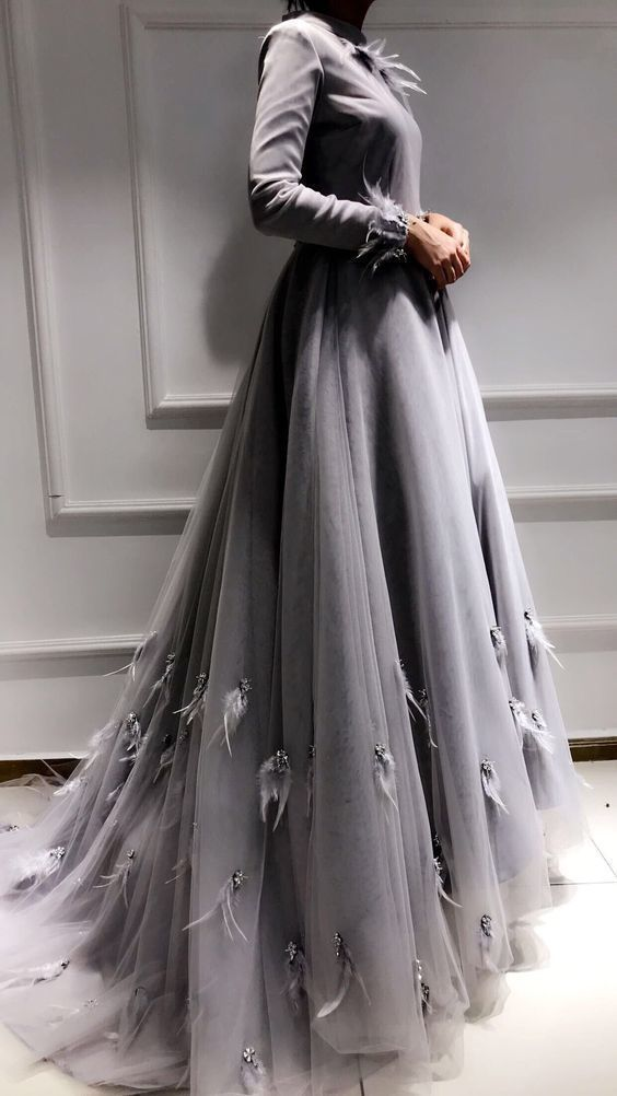 Prom Dresses Ball Gown,grey evening prom dress