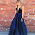 Navy Blue Prom dresses Deep V-neck Halter Open Back Long Dress   A-line Women