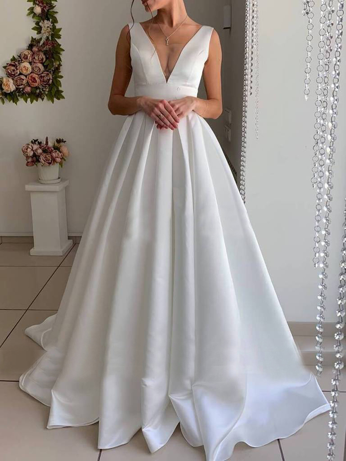 2020 V-Neck Simple Satin Wedding Dresses Backless  Vestido De Noiva Off Shoulder