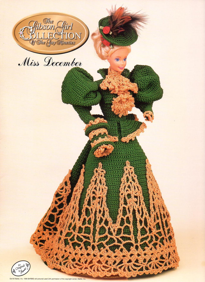 Fashion Doll Walking Suit Crochet Pattern December Gay Nineties Gibson Girl