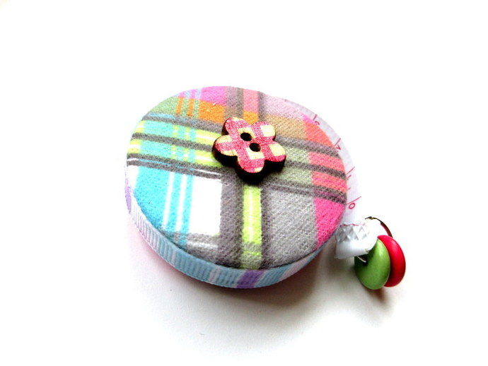 Tape Measure Flannel Pastel Plaids Small Retractable Measuring Tape