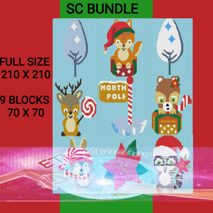 Woodland Christmas SC 9 Patterns with written color charts