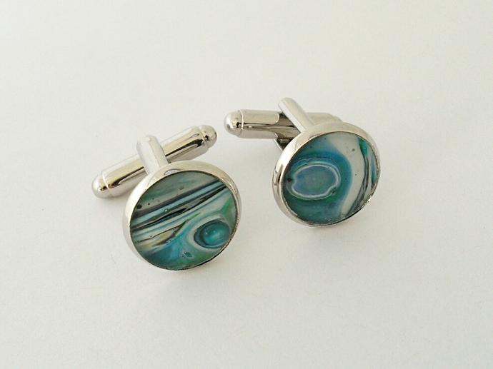 Art Cufflinks in Shades of Blue and White
