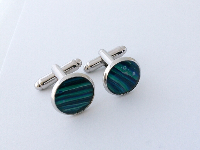 Art Cufflinks in Shades of Blue and Green