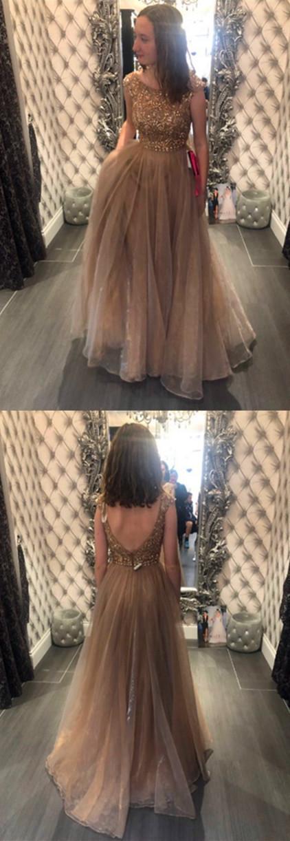 Sexy O-Neck Beading A-Line Prom Dresses,Long Prom Dresses,Cheap Prom Dresses,
