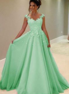 Green tulle lace round neck A-line long prom dresses