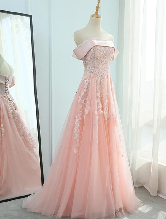 Pink Off Shoulder Satin And Tulle Floor Length Party Dress, Beautiful Formal