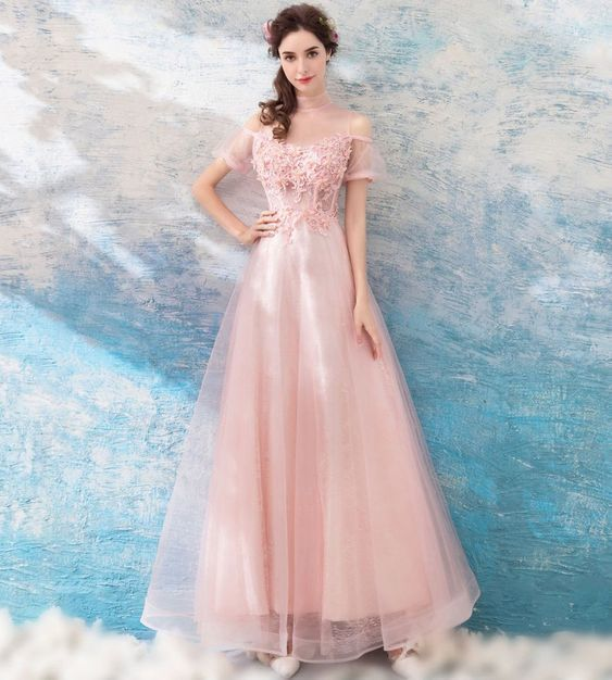 Pink round neck tulle lace long prom dress, princess dress