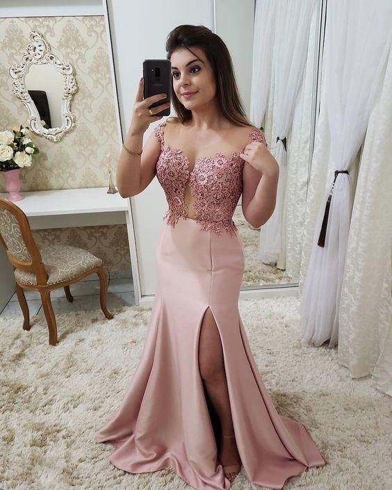 2020 long prom dress pink charming dress