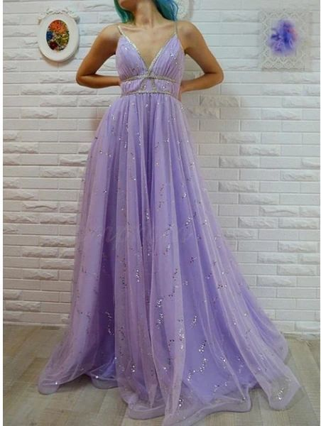 A-Line Spaghetti Straps Floor-Length Lavender Prom Dress With Sequins,
