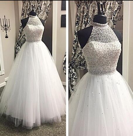 Halter Beading Ball Gown Wedding Dresses Lass
