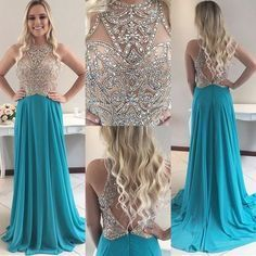 Blue Open Back Jewel Sweep Train Prom Dress with Beading
