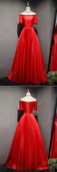 Red satin long strapless A-line beaded prom dresses