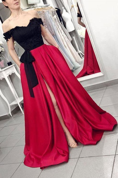 Plus Size Sexy off the shouler Red Black Chiffon Long Wedding Dress Party Dress