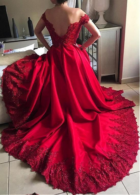 Off The Shoulder Lace Applique Custom Size Wedding Dress Party Dress Prom Dress