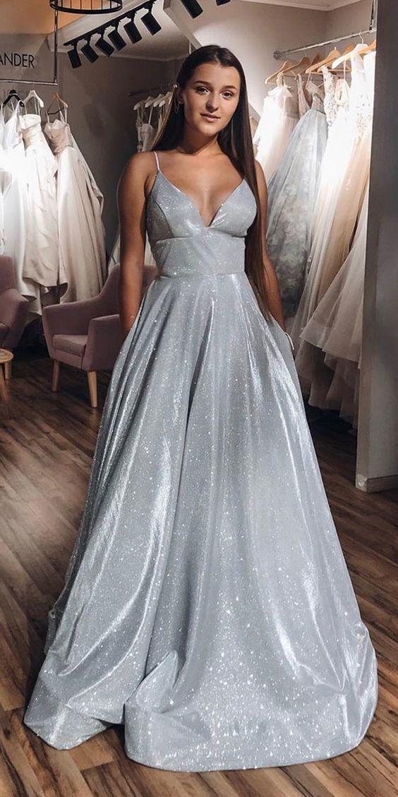 A-Line V-neck Spaghetti Straps Silver Sparkle Prom Dress with Pockets