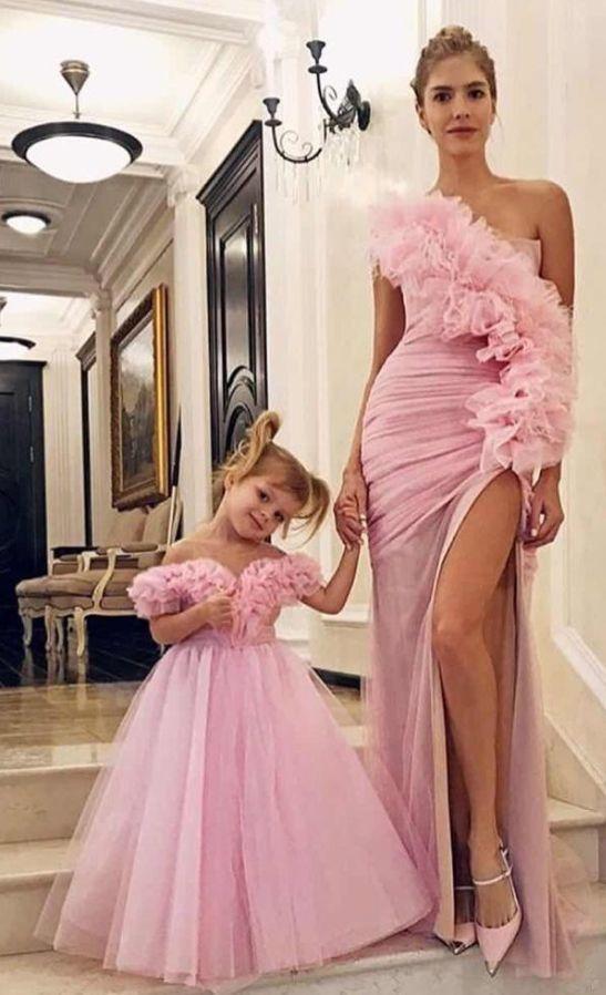 Pink Mermaid Prom Dresses Long Side Split V Neck Floor Length Evening Gowns
