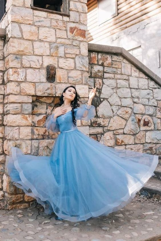 Blue Tulle Long Sleeve Sweetheart Prom Dresses Off the Shoulder Party Dresses
