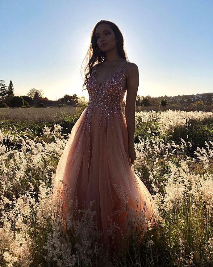 Glamorous A Line V Neck Pink Long Prom/Evening Dresses with Beading T4759