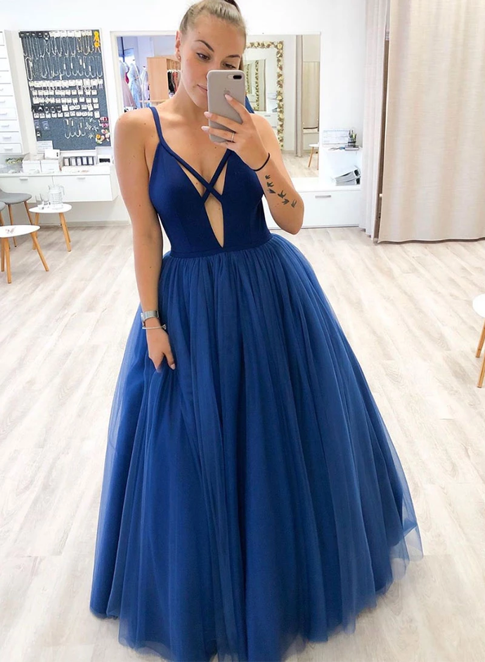 Sexy A Line Deep V Neck Royal Blue Long Prom/Evening Dresses T4761