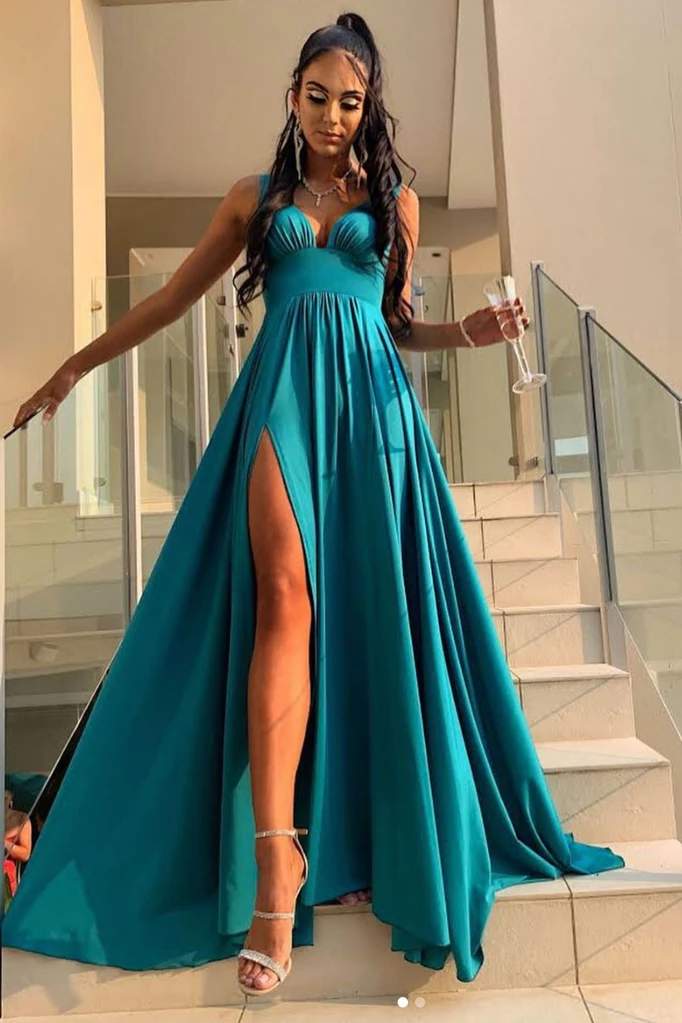 Classic A Line V Neck Green Long Prom/Evening Dress Split Front T4762