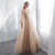 New Champagne Prom Dresses Long Puff Sleeves Venice Lace Full Length Evening