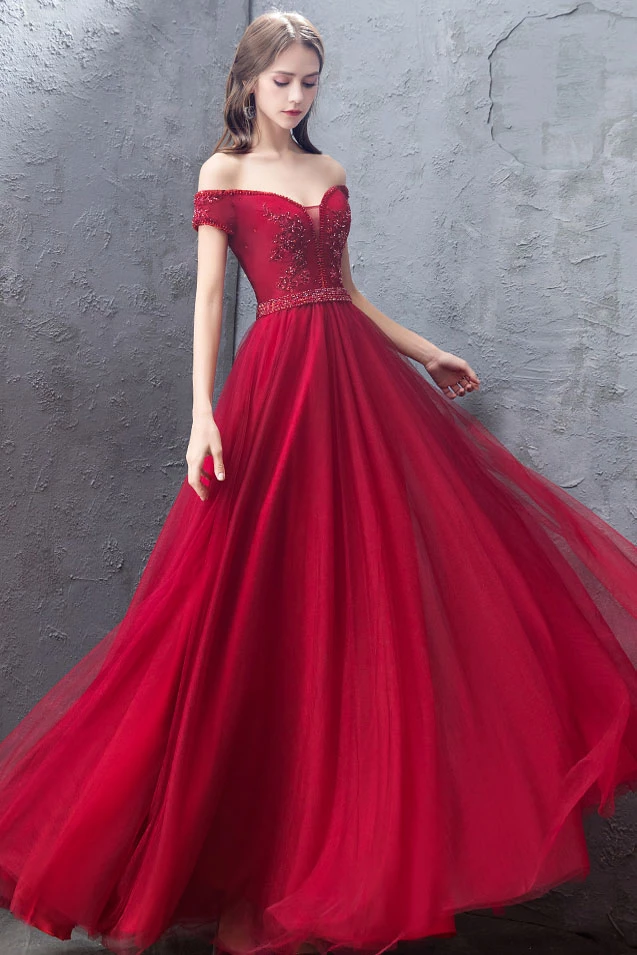Beautiful A Line Off the Shoulder Red Prom Dresses with Appliques Beading T4763