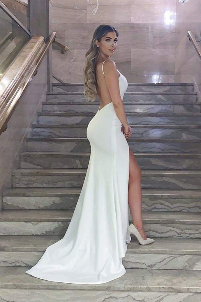 Hot Sexy Mermaid Spaghetti Straps White Long Prom/Evening Dress Backless T4764