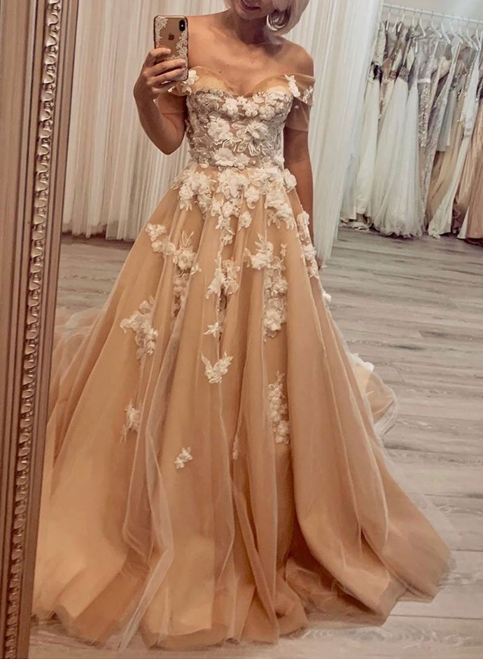 Glamorous A Line Off the Shoulder Champagne Long Prom/Evening Dresses with