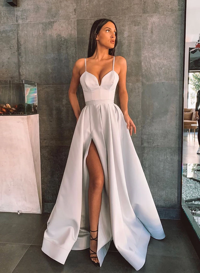 Simple A Line Spaghetti Straps Gray Long Prom/Evening Dress Split Front T4768