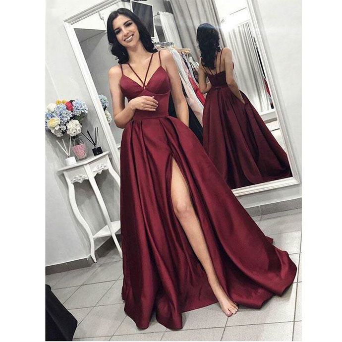Evening Dresses 2019 Elegant Prom Dress with Slit Women Satin Formal Party Gown