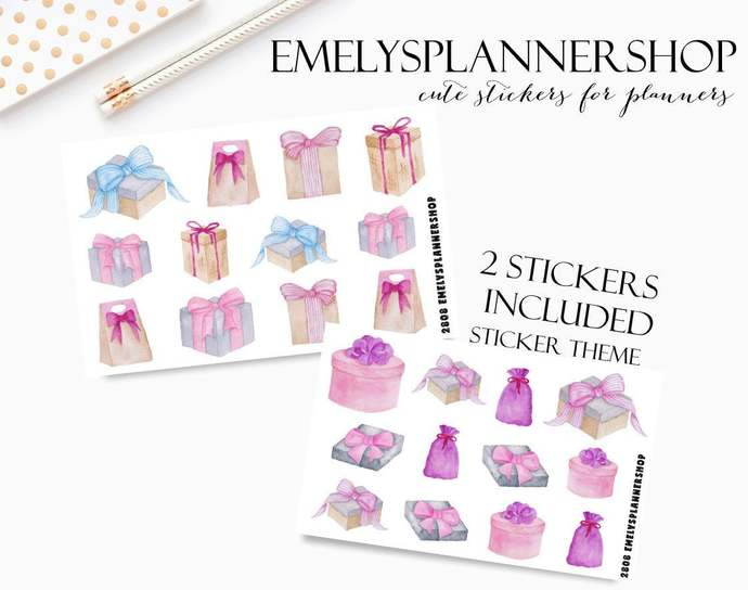 Presents Stickers, Gift Boxes, Birthday Wedding, Ribbon Bows, Planner Stickers,