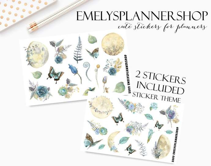 Mystic Moonshine, Planner Sticker Set, Nature and Flowers, Butterflys and Moon,