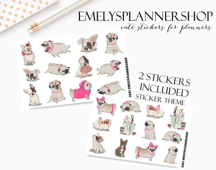 Pug Life Sticker Set - Dog Lover Sticker - Puppy Stickers - Decorative Stickers