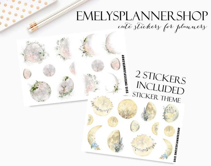 Moon Phases, Planner Sticker Set, Celestial Sticker, Moonlight Nature, Soft