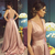 Blush Pink Long Prom Dresses Formal Occasion Gowns Deep V-Neck Backless Evening