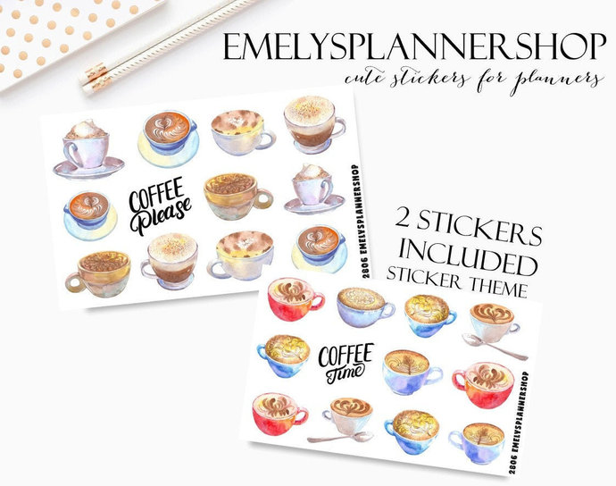 Mug Stickers, Coffee Cups, Planner Sticker Set, Cozy Drink, Decorative Stickers,