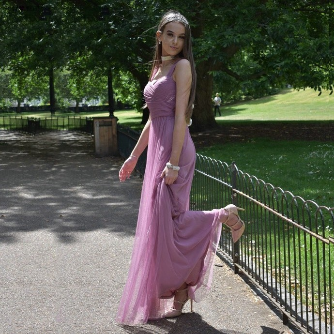 2020 Long Prom Dresses  A-Line Vestido De Festa Women Elegant Sleeveless Banquet