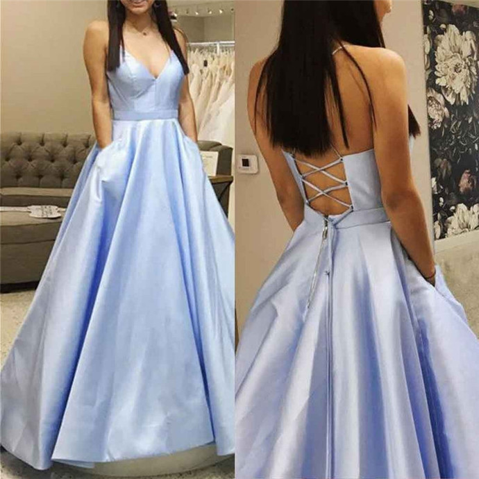 2020 Blue Prom Dresses with Pocket Satin Formal Party Dress Custom Made A-line