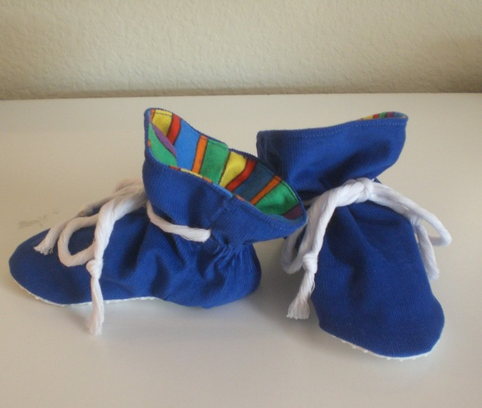 Royal Blue corduroy baby TV booties/soft sole shoes SIZE MEDIUM