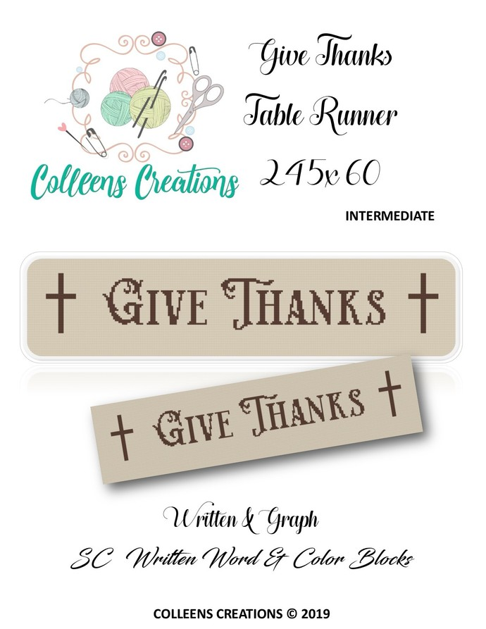 Give Thanks Table Runner Crochet Written and Graph Design