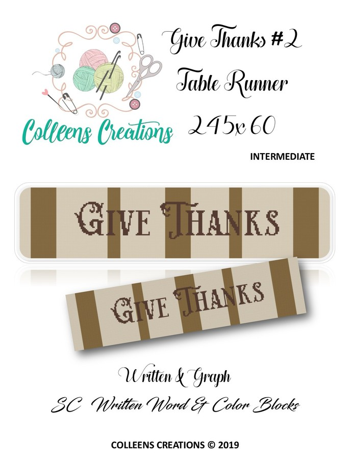Give Thanks #2 Runner Crochet Written and Graph Design