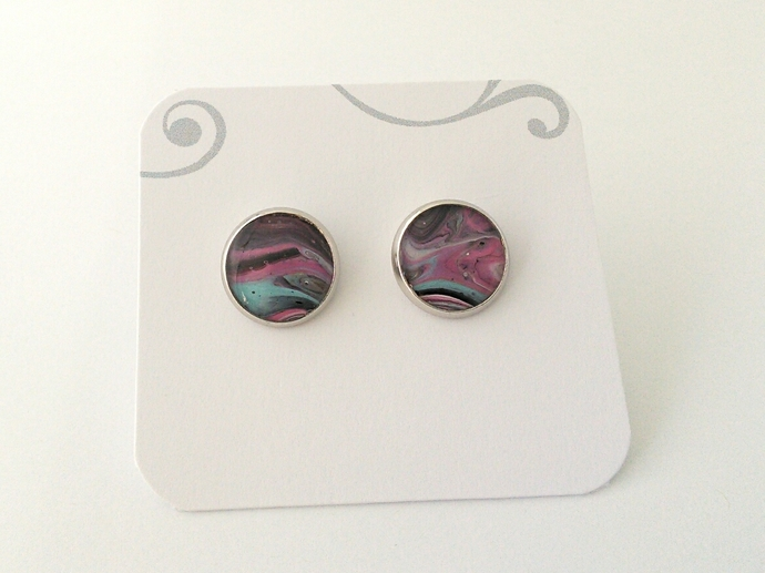 Art Cufflinks in Shades of Pink, Blue and Black